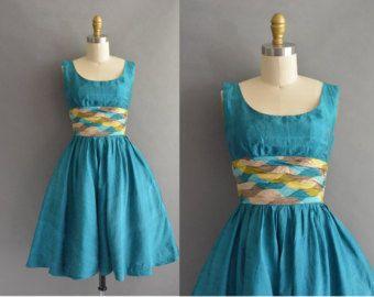 años 50 azul vestido de fiesta de encaje por simplicityisbliss