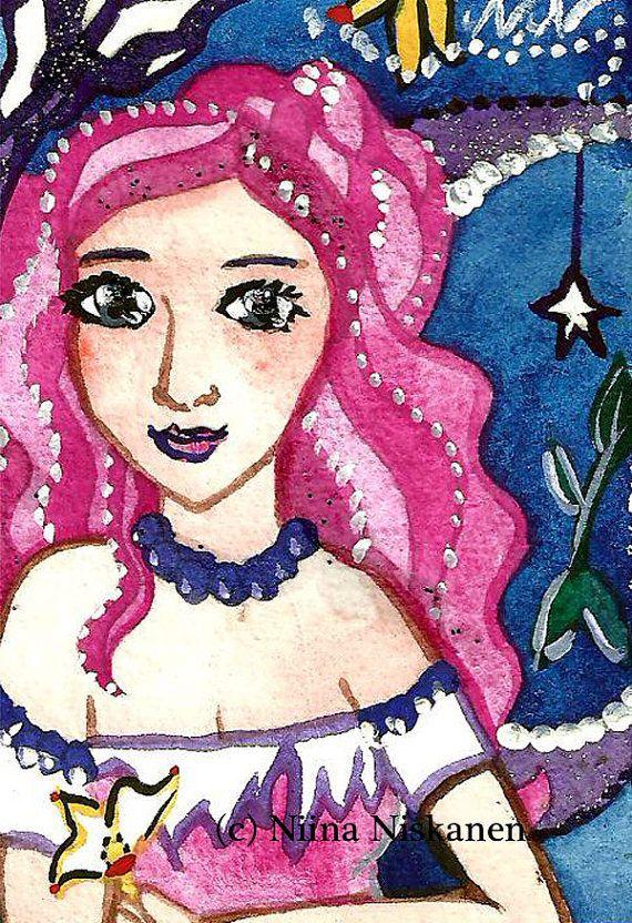 Sea Stardust Mermaid ACEO Original Fantasy Art Painting 2,5 x 3,5 Embellished Mermaid Illustration by Niina Niskanen