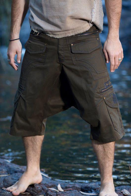 Dark Green Functional Afghani Goa Cargo Pants Shorts Multiple Pockets, Aladdin Alibaba Harem Festival Tribal Heavy Duty Mens Clothing AJJAYA