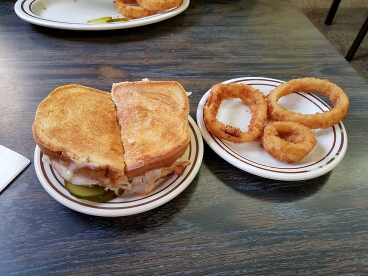 Turkey Melt Sandwich with Onion Rings at Milk and Honey on 34th st and Cleveland ave nw.