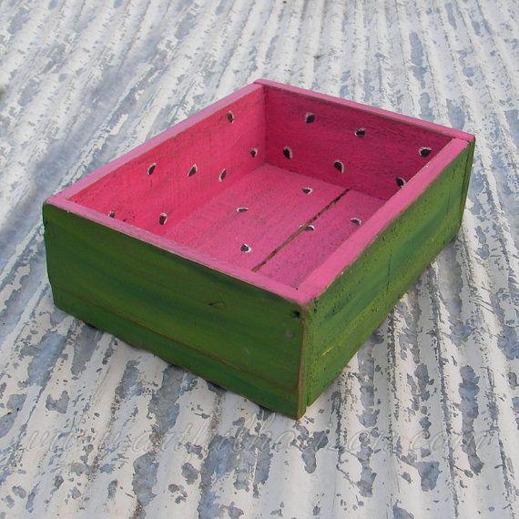 Primitive Holzkiste Funky Volkskunst Wassermelone von ArtfulHorizon