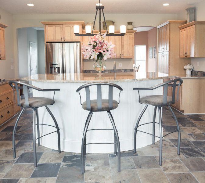 Showcase Kitchen: Shaker Style Maple Cabinets, White Island And Slate  Floors And Backsplash.