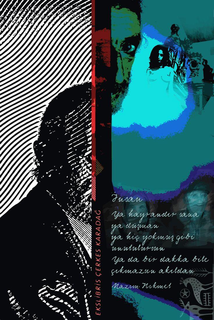 Çerkes Karadağ için ekslibris. P8+CGD, 120x80, 2014