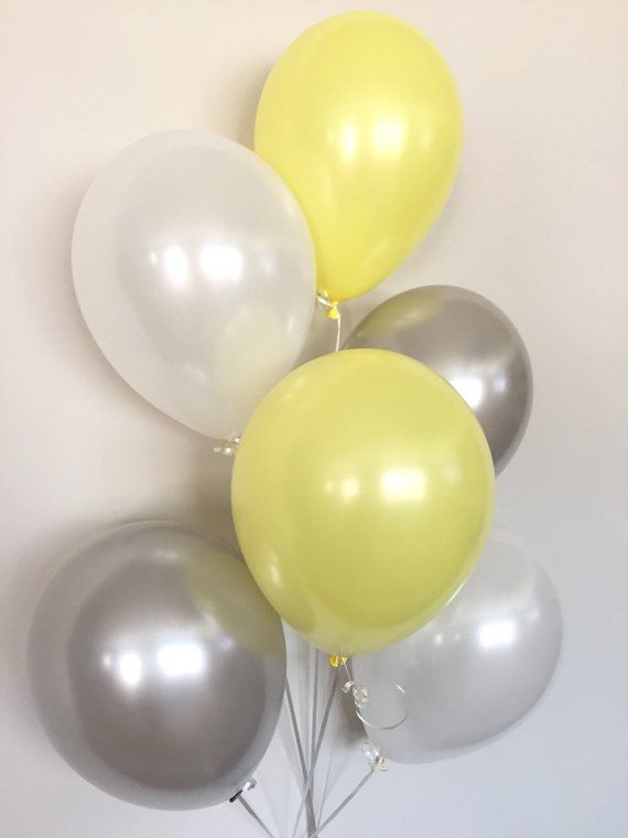 Yellow And Gray Balloon Bouquet Balloons