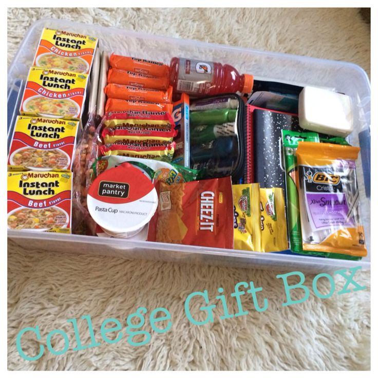 "behindthereddoor.simplesite.com College gift box. Survival kit for your college freshman! School supplies, first aid kit, toiletries, snacks, and your typical ""college meals"". Perfect for small dorm rooms!"