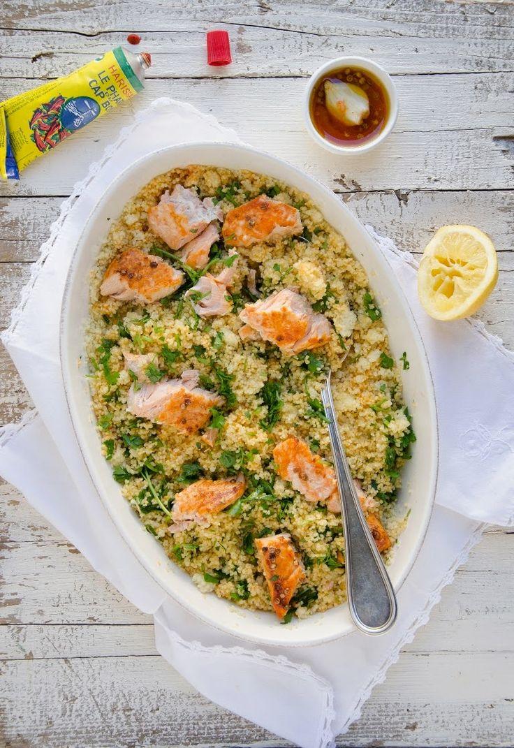 Couscous con salmone marinato al forno