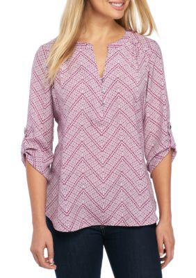 Kim Rogers Women's 3/4 Sleeve Chevron Top - Plum Candy - L