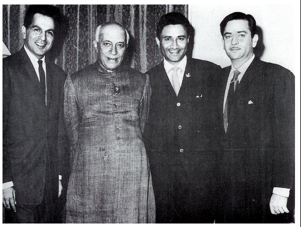 The best actors in Bollywood of the black and white era Dilip Kumar, Dev Anand & Raj Kapoor with Pandit Jawaharlal Nehru.