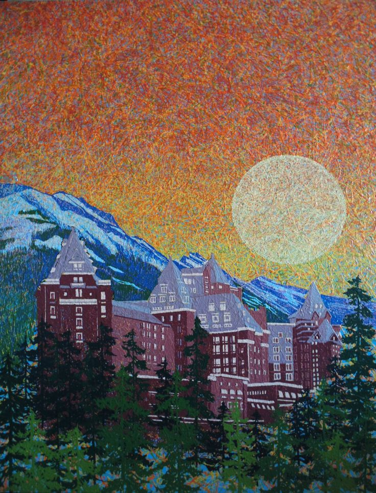"""Banff Springs Hotel"" by Artist Rhonda Lund 36 x 48 "" Acrylic on Canvas; Staple back 2014"
