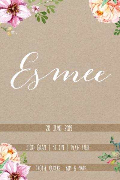Chic geboortekaartje met karton achtergrond en blije bloemen.