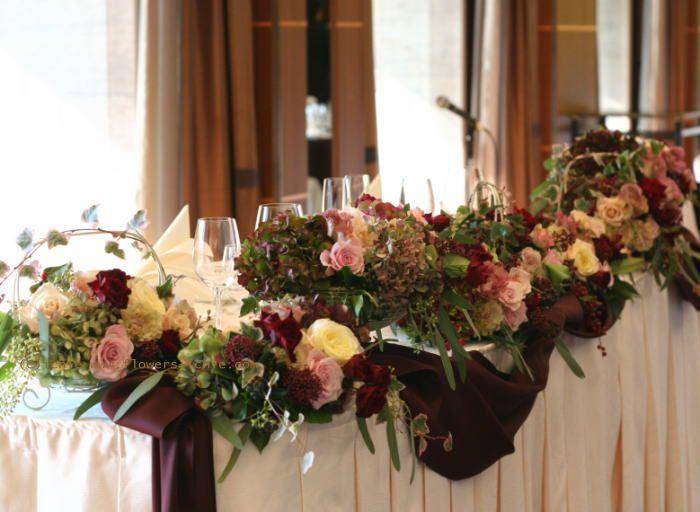 ホテルニューオータニ様の装花 セピアピンク 2 : 一会 ウエディングの花