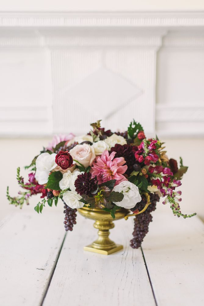 Footed Vase Arrangement | Sweet Root Village | Wedding: Champagne and Berry Floral Mockup at the Willard Hotel