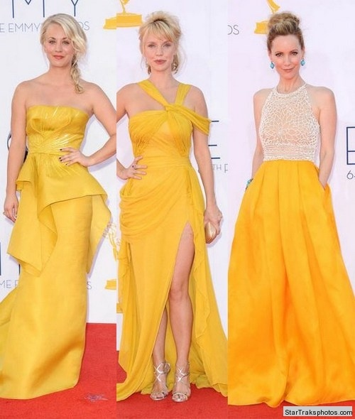 Kaley Cuoco, Kelli Garner, and Leslie Mann were stunners in canary yellow!