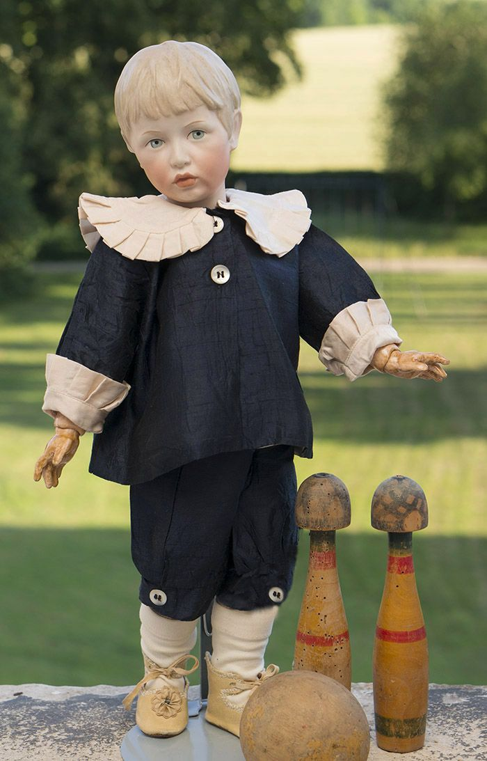 *KAMMER & REINHARDT~46 cm doll Rare typical German Co.,casting 102.Porcelain head boy w/ a beautiful stucco,painted eyes,closed mouth,marking at the back K*R 102.46.The body is made of wood+ composite.Porcelain.The German Co. Kaammer & Reinhardt,1910.Identical sculpture Knabenbuste produced the famous German sculptor Arthur Lewin-Funcke(1866-1937)in 1898(sm.poslednee photo).Later,in 1910,the sculptor has created this model casting doll series characteristic of artistic dolls MILF…