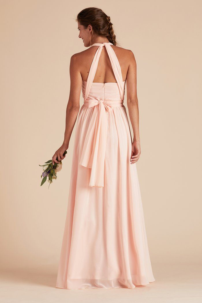 3f59eb42276 Birdy Grey Gracie Chiffon Convertible Bridesmaid Dress in Blush Pink - How  To Tie Convertible Bridesmaid Dress with Triangle Back under  100