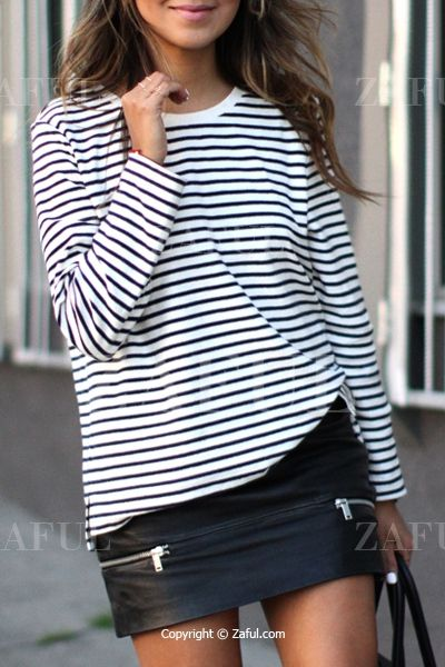 Jewel Neck Stripes Long Sleeve T-Shirt: Tees | ZAFUL
