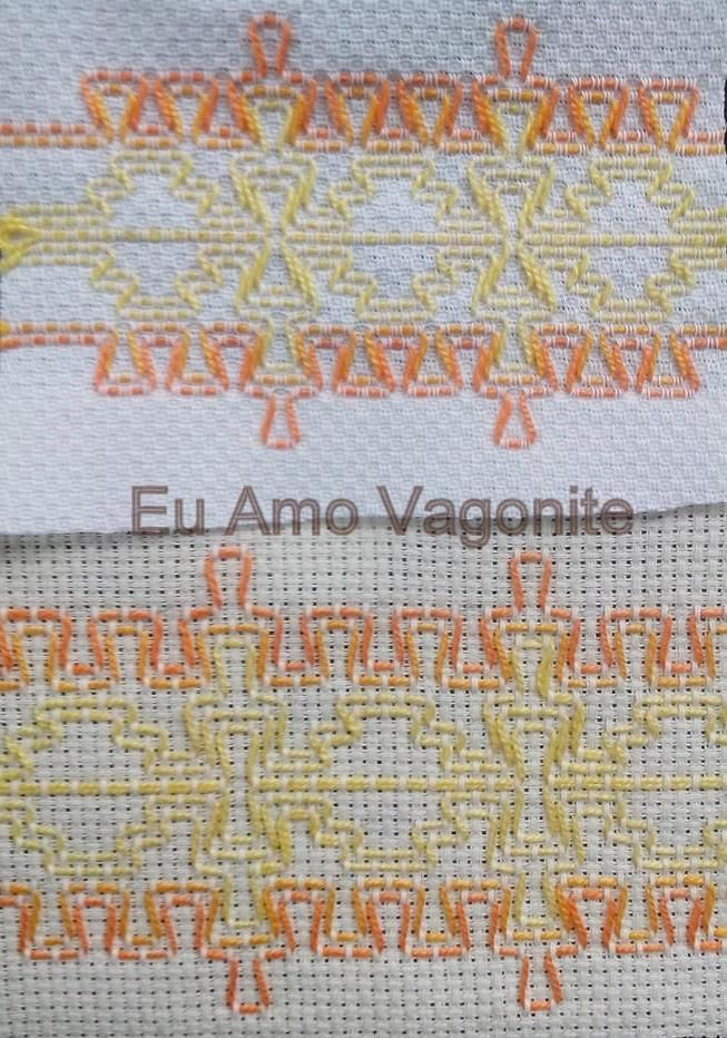 A mesma amostra, o mesmo número de pontos, mas feito em tecido diferente. https://www.facebook.com/euamovagonite?ref=hl