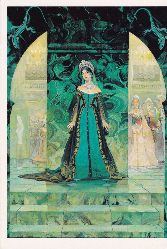 """Russian court dress. Illustration by V. Nazaruk for """"The Malachite Box"""", Russian tale by Pavel Bazhov. Vintage postcard, 1989."""
