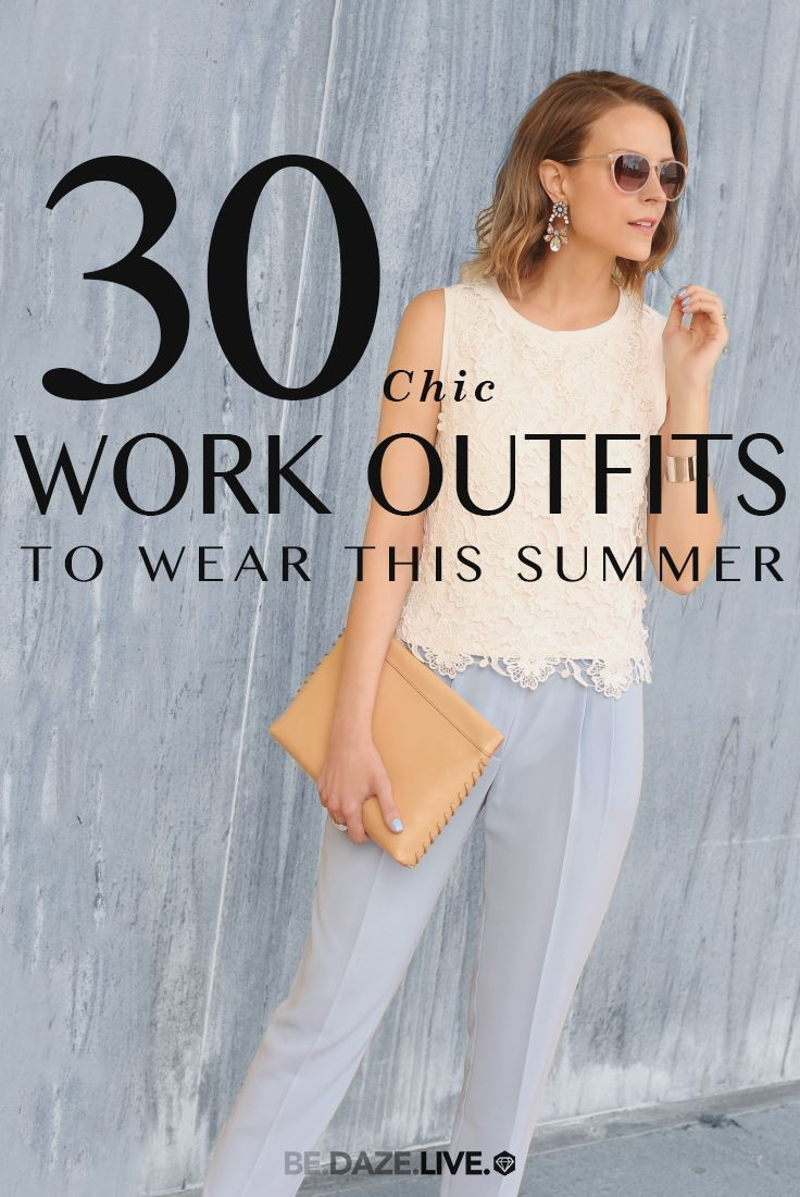 30 Work Outfit Ideas - Spring / Summer - office wear - business casual - work outfit - crochet tank top + baby blue crop pants + nude clutch + pink sunglasses