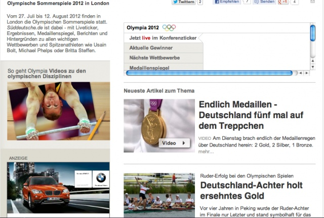 312 The pictures are in the same location on the webpage because they always keep the same layout so that people know where to look for information about the olympics. They placed the article about their winnings above the other article featuring just the rowing team.: Suddeutsche Germany