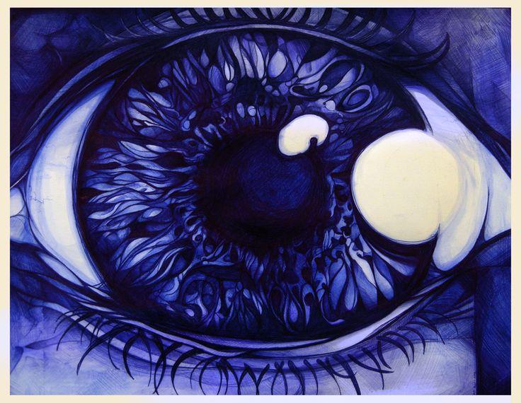 Eyeball drawn in ballpoint pen.