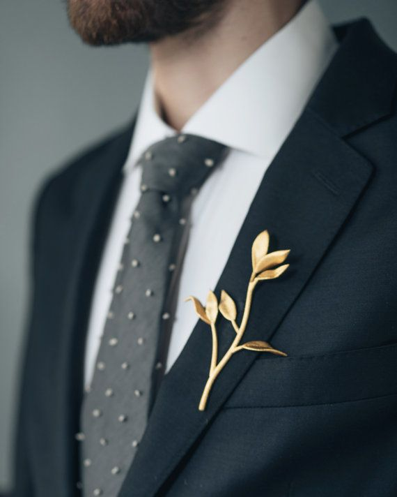 Leaf & Branch Boutonniere- 3D Printed Stainless Steel Men's Suiting Accessory