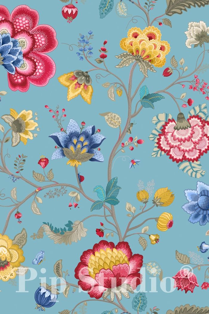 PiP Floral Fantasy | Light Blue Wallpaper | PiP Studio ©