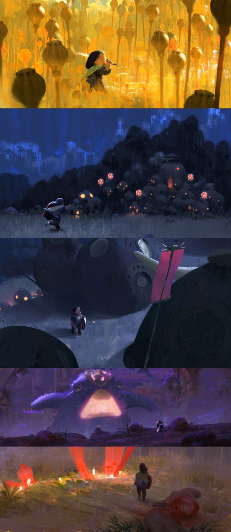 some color scripts for a personal project by Alexandre Diboine (Zedig on deviantART)