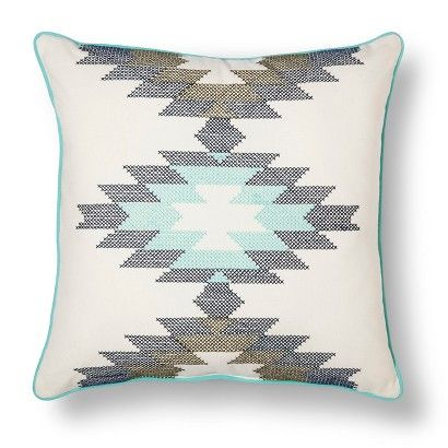 """Room Essentials™ Southwest Cross-stitch Pillow (18x18"""") - White/Teal"""