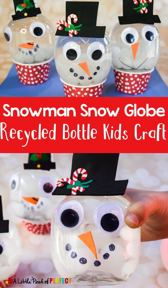 Kids can make a Snowman snow globe craft with our clever way of turning a recycled bottle into an adorable craft using our latest favorite winter themed sensory supply.