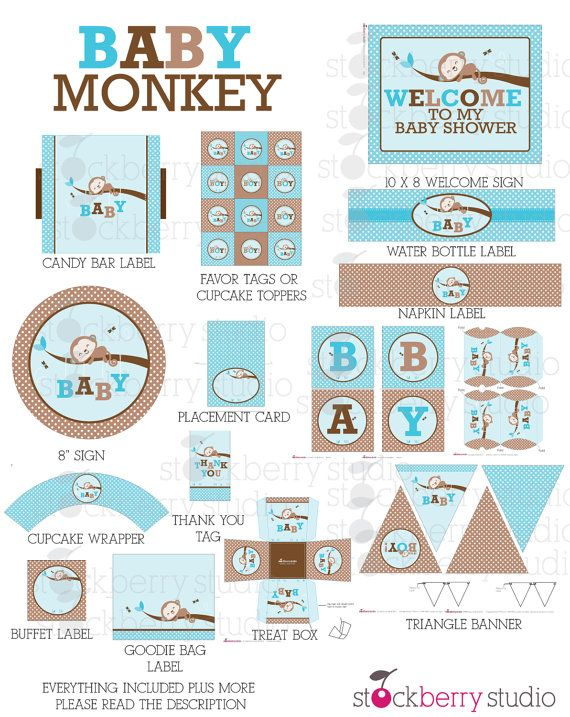 Boy Monkey Baby Shower Decorations Printable - Instant Download - Blue and Brown Baby Shower Party Packatge