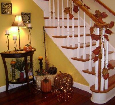 I love decorating for Fall season: Fall Leaves, Stairs, Stairca Decor, Christmas Decor Ideas, Fall Decor, Pumpkin, Home Decor, Christmas Garlands, Fall Home