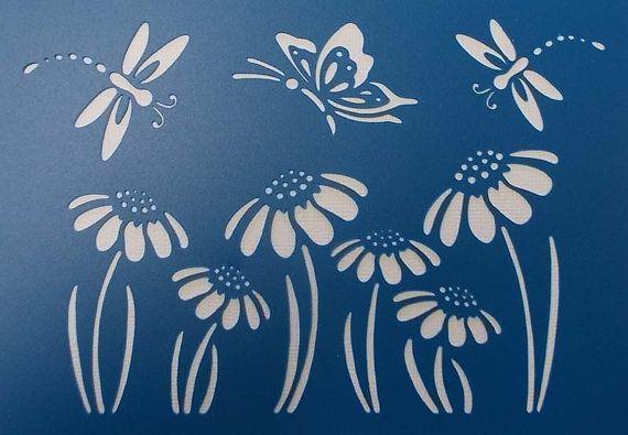 Dragonfly and Flower Stencil от BettsHandmadecrafts на Etsy