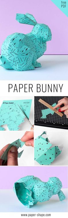 This diy paper rabbit is the perfect Easter decoration and comes with a free template. Choose your favorite paper color and head to PaperShape to download the free template.