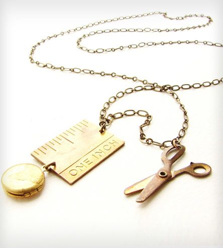 Brass Ruler & Scissors Necklace