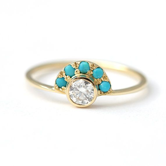 Diamond Engagement Ring with Turquoise - Alternative Engagement Ring - Turquoise…