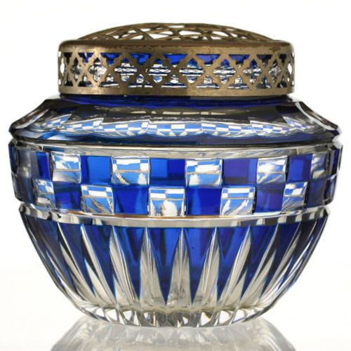 1930s-VAL-ST-SAINT-LAMBERT-BLUE-OVERLAY-CRYSTAL-LUBECK-FLOWER-ARRANGER-HOLDER