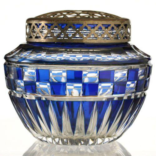 1930s-VAL-ST-SAINT-LAMBERT-BLUE-OVERLAY-CRYSTAL-LUBECK-FLOWER-ARRANGER-HOLDER