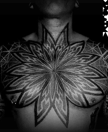 Flower of life tattoo on chest heart chakra design for Ink lab tattoo