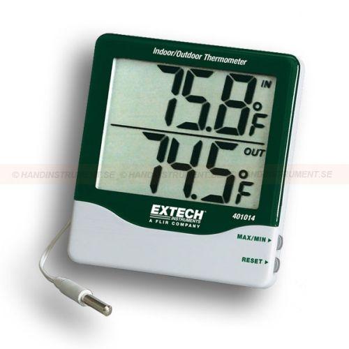 http://handinstrument.se/termometer-r1288/termometer-stora-siffror-53-401014-r1446  Termometer, stora siffror  Stor LCD-display med 25mm siffror  Samtidig visning av inomhus / utomhustemperatur  Inomhus intervall: -10 till 60 ° C  Utomhus: -50 till 70 ° C  ± 1 ° C noggrannhet; 0,1 ° C upplösning Garanti: 2 År