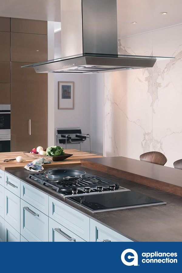 The 45 Island Mount Chimney Hood With Glass From Wolf Will Last Long With The Heavy Gauge Stainless Steel Constru In 2020 Home Appliances Grand Kitchen Kitchen Design