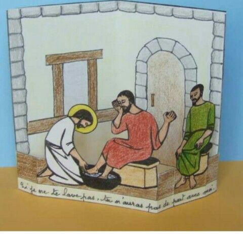 knutsel Voetwassing Bible craft Jesus washes his disciples' feet