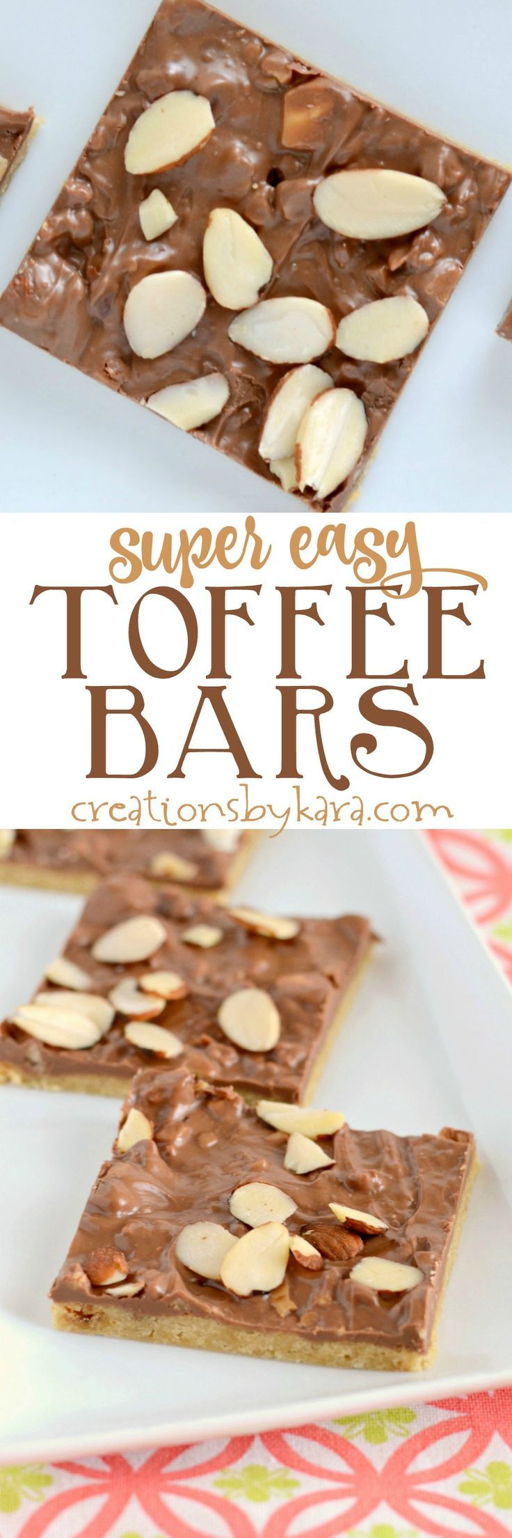 Quick and easy toffee bars. Chewy and buttery and topped with melted candy bars. A perfect bar recipe for beginning chefs. via creationsbykara.com