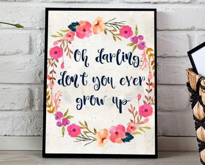 TAYLOR SWIFT QUOTE, Instant Download, 11x14 & 8x10, Never Grow Up Print, Taylor Swift Print, Floral Print, Song Lyric Print, Digital print…