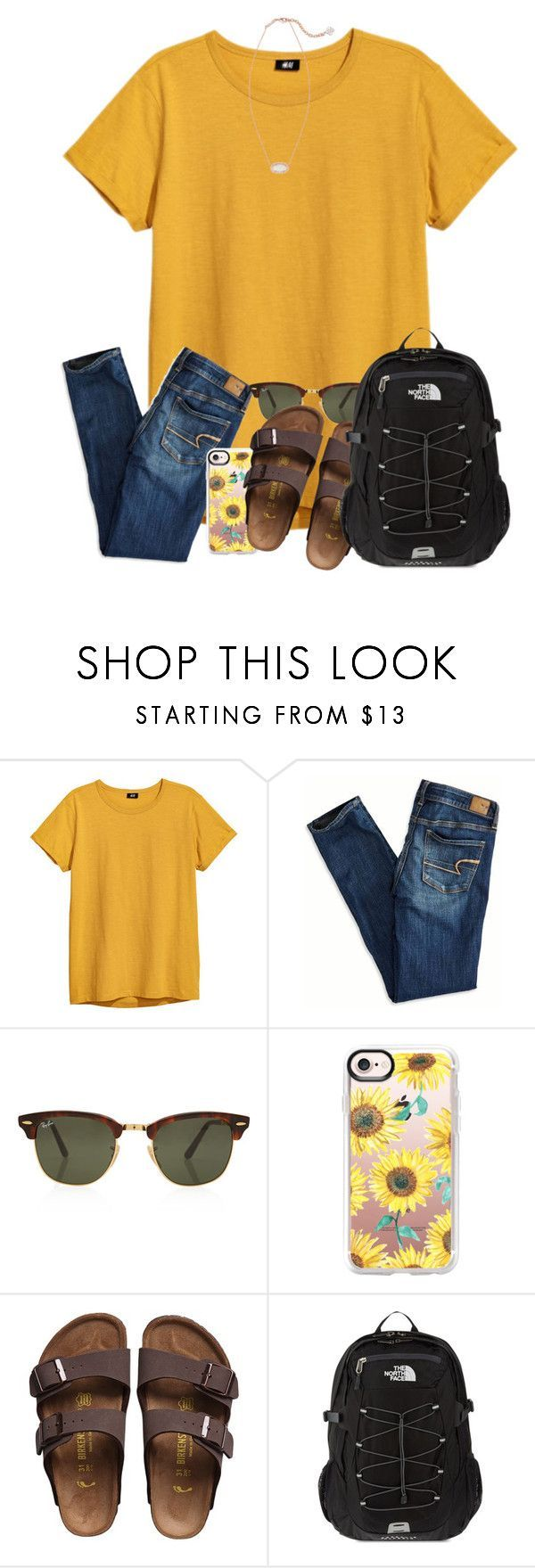 """RTD! SERIOUSLY!"" by ellisonharris ❤ liked on Polyvore featuring American Eagle Outfitters, Rayban, Casetify, Birkenstock, The North Face and Kendra Scott #americaneagleoutfitters"