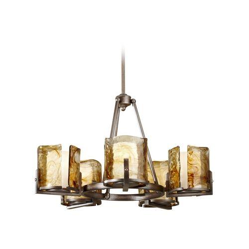 Modern Chandelier with Art Glass in Roman Bronze Finish | F2689/5RBZ | Destination Lighting