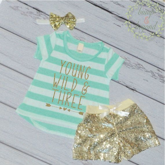 Young Wild And Three Third Birthday Outfit Girl Gold Sequin Shorts, Headband T-Shirt Girl 3rd Birthday Girl Outfit by BumpAndBeyondDesigns