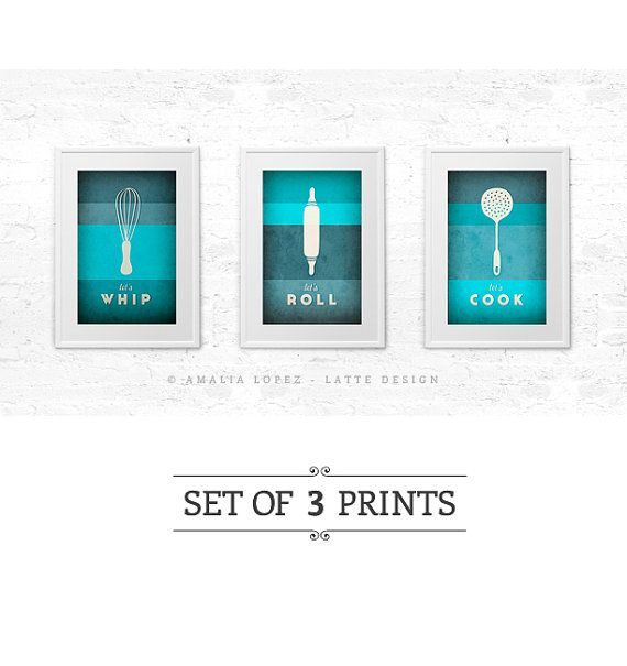 Hey, I found this really awesome Etsy listing at https://www.etsy.com/listing/159674358/set-of-3-prints-turquoise-kitchen-print
