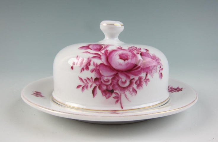 Ruby hand painted covered butter dish.