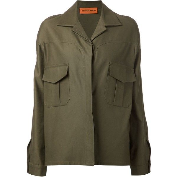 Coperni Femme military jacket ($1,090) ❤ liked on Polyvore featuring outerwear, jackets, green, brown cotton jacket, field jacket, brown jacket, green military jacket and brown military jacket